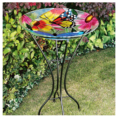 Gerson 2066210 Birdbath, Butterflies & Flowers, Glass With Metal Stand, 26.5-In. by Gerson