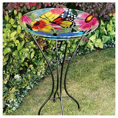 Gerson 2066210 Bird Bath, Butterflies & Flowers, Glass With Metal Stand, 26.5-In.