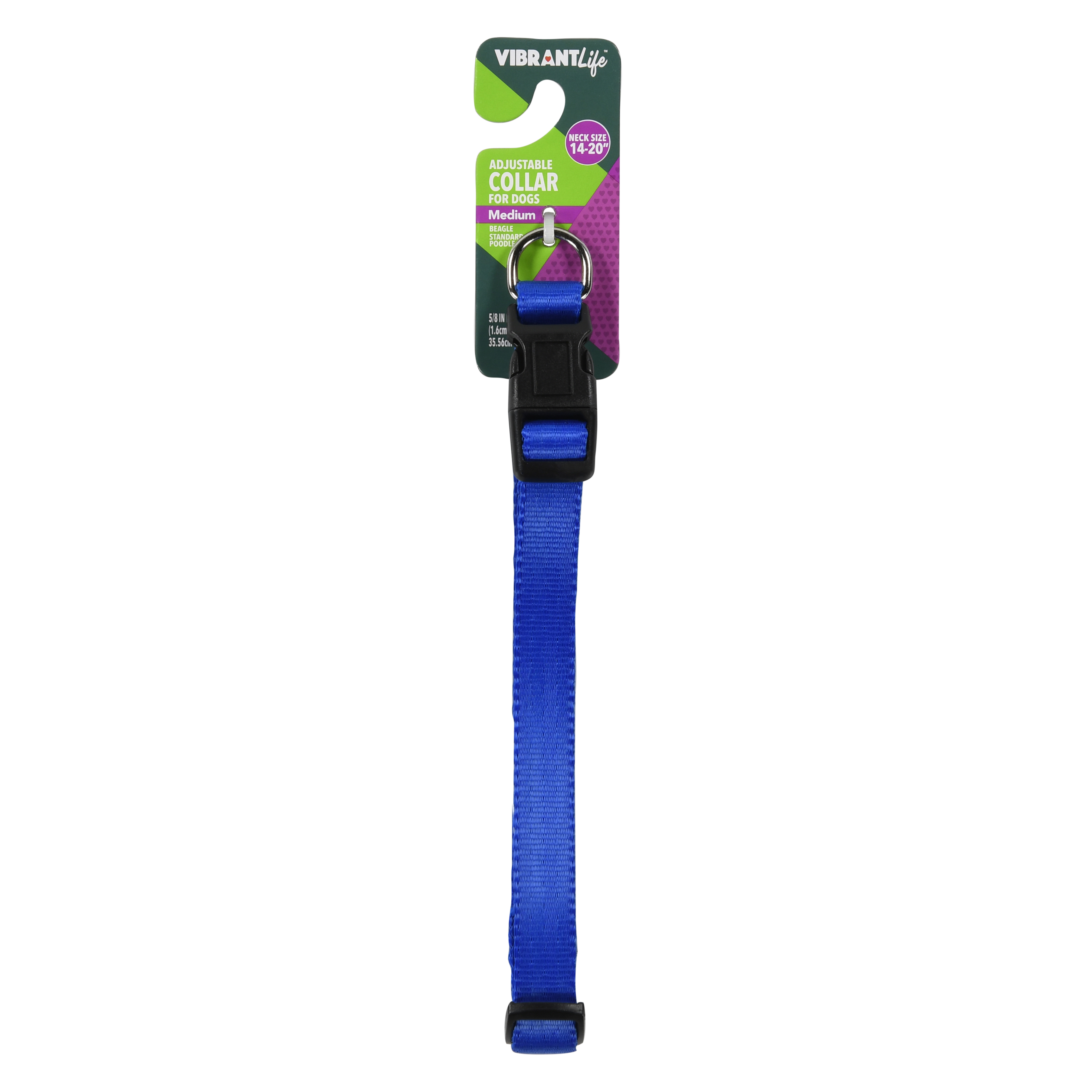 Vibrant Life Adjustable Dog Collar with Metal Clasp, Blue, Medium by Hyper Pet