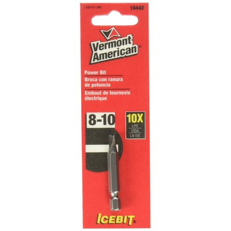 16442 Type Slotted Size 8 through 10 with 1-15/16-Inch Length Icebit Power Bit, Icebit insert bits are constructed of hardened steel for longer bit life By Vermont American