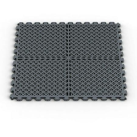 Norsk NSMPVN6DG Vented Drain Pattern PVC Floor Tiles, Dove Gray, 6-Pack ()