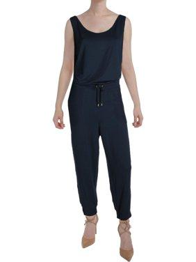 Lauren Ralph Lauren Womens Sleeveless Drawstring Jumpsuit Navy M