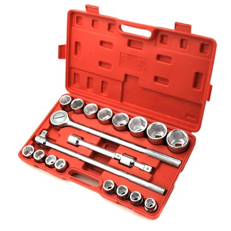 "3/4"" 6-Point Drive Auto Ratchet Sockets Wrench Repair Tool Set with Case, 21PC"