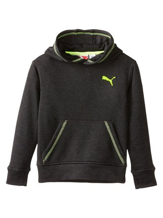 Puma Kids Hoodie Black With Fluorescent Green Boys-Styl…
