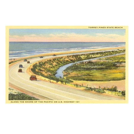 Highway 101 in Southern California, Torrey Pines Print Wall (Cool Places To Go In Southern California)