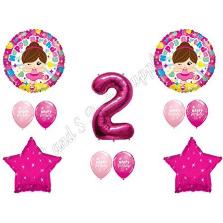 TUTU CUTE 2nd Birthday Party Balloons Decoration Supplies Second Ballerina Two (Ballerina Birthday)