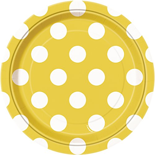 7\  Polka Dot Paper Dessert Plates Sunflower Yellow 8ct  sc 1 st  Walmart & 7\