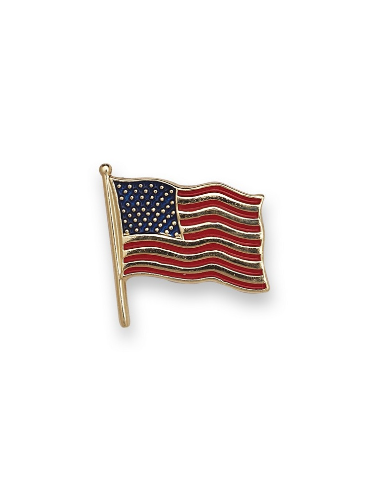 14k Yellow Gold American Flag Lapel Pin 14.5x14mm Color - 1.4 Grams