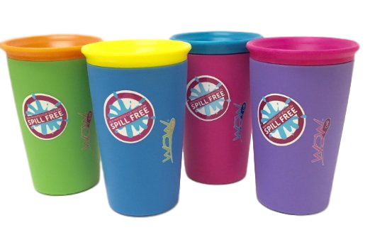 As Seen on TV Wow Cup, Spill-Proof Cup (4 pack, 4 Colors) by