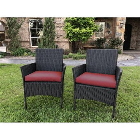 Resin Wicker/Steel Contemporary Arm Chair with Cushions (Set of 2)