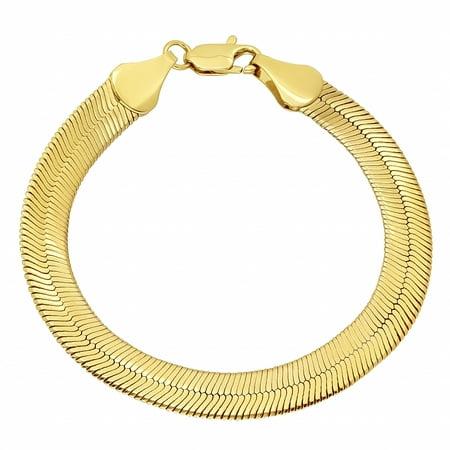 9mm 14k Gold Plated Herringbone Bracelet
