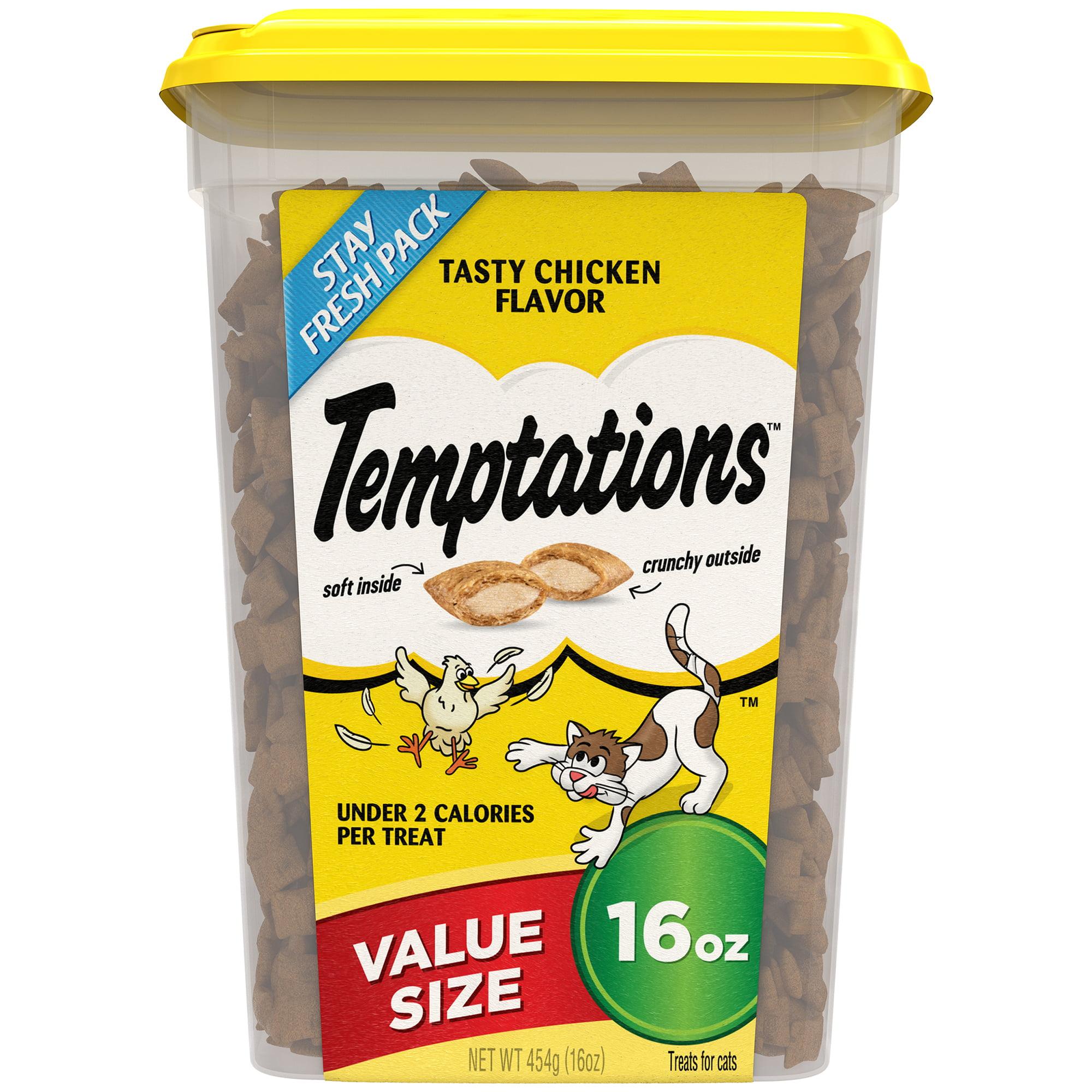 TEMPTATIONS Classic Cat Treats Tasty Chicken Flavor, 16 oz. Tub