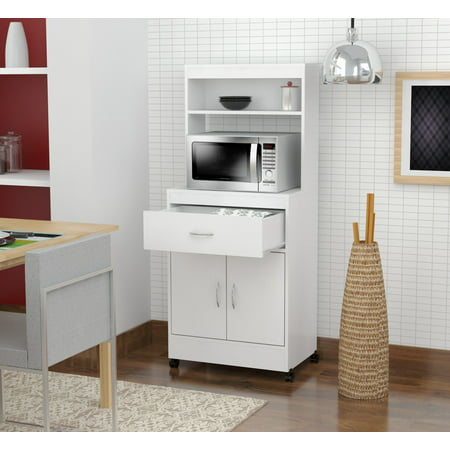 Inval Contemporary Laricina-white Microwave Kitchen Cart (Microwave Carts With Hutch)