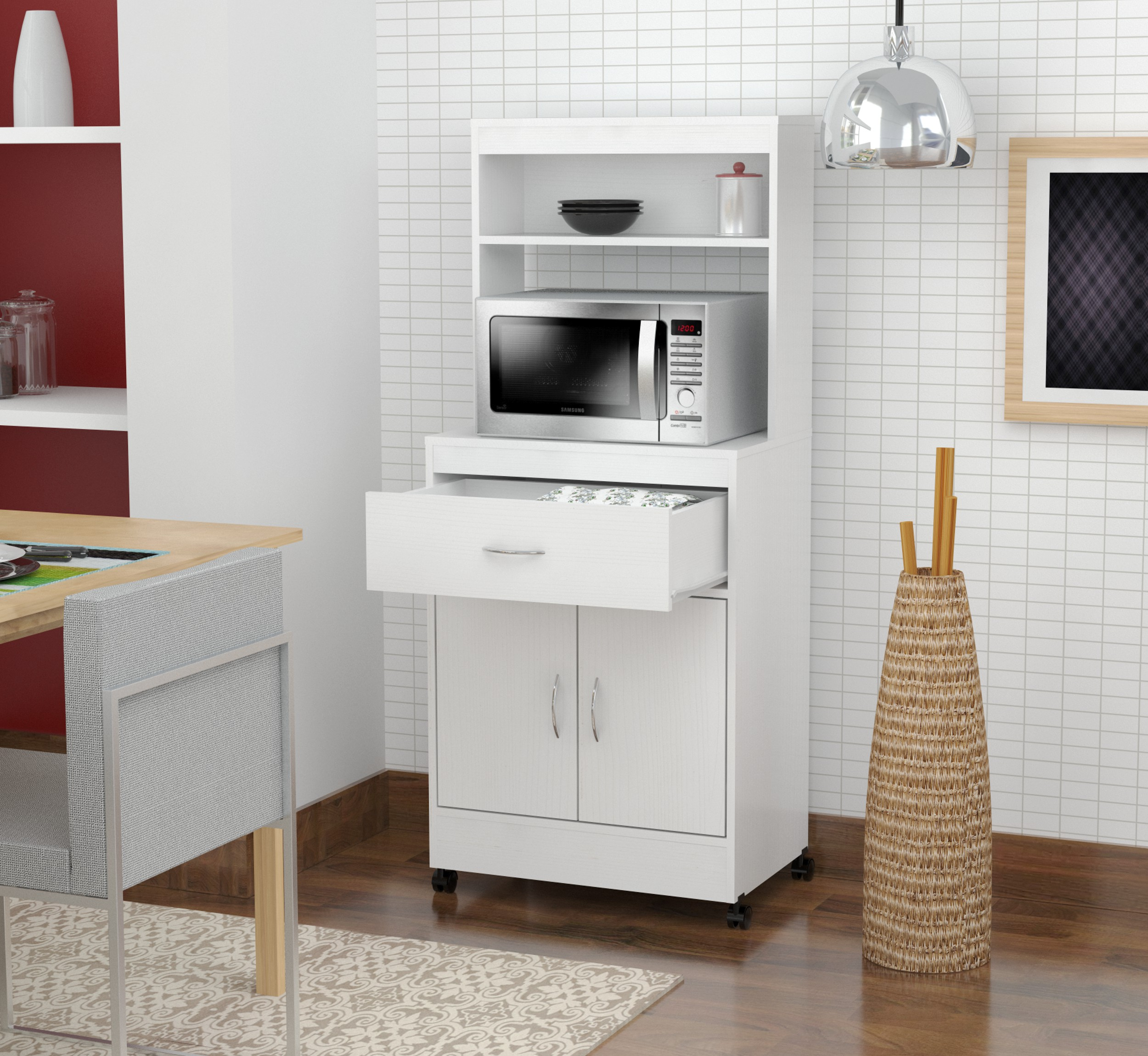 Inval Contemporary Laricina White Microwave Storage Cabinet
