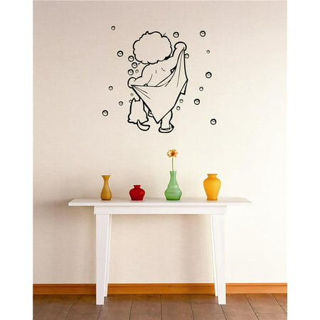 Do It Yourself Wall Decal Sticker Boy Bubbles Bathing Shower Bathroom Stylish Decor Mural 20x30