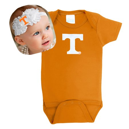 Tennessee Volunteers Baby Bodysuit and Shabby Flower Headband Set