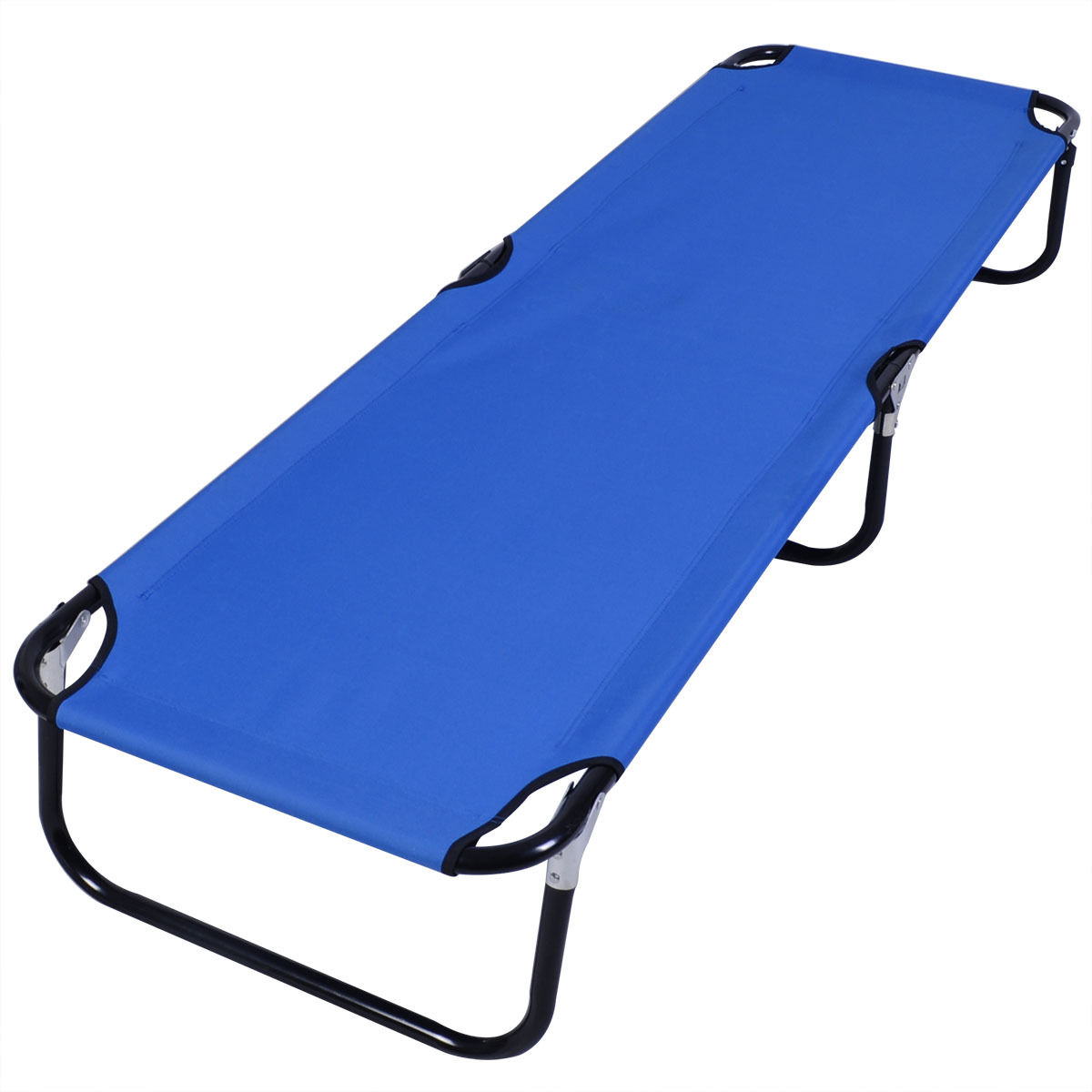 Gymax Blue Folding Camping Bed Outdoor Military Cot Sleeping