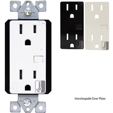 Enerwave ZW15R Z-Wave Wireless Duplex Outlet 15A Tamper Resistant Receptacles, Interchangeable (Wireless Plate)