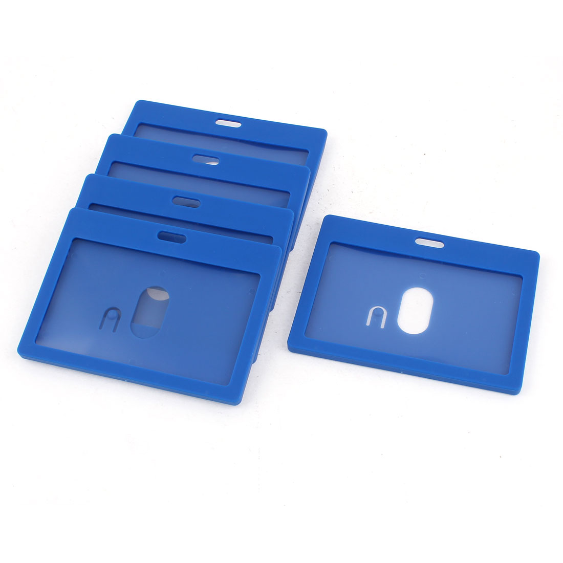 Unique Bargains 6pcs Plastic Blue Clear Rectangle Horizontal Office 9cm x 5.5cm Card Holder