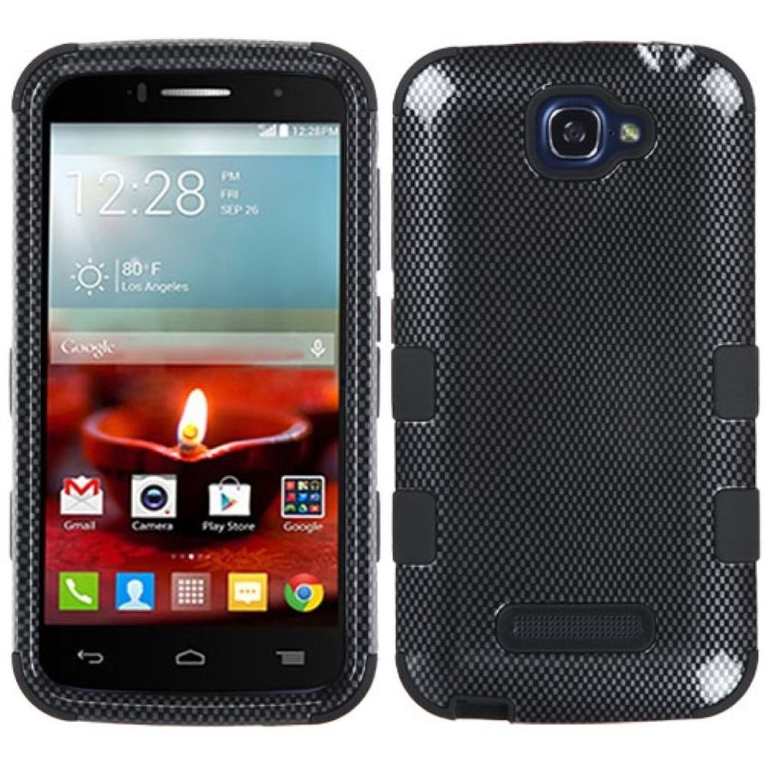 Insten Tuff Hard Dual Layer Rubber Silicone Phone Case For Alcatel One Touch Fierce 2 7040T - Black