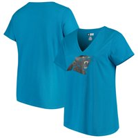 Women's Majestic Blue Carolina Panthers Plus Size Logo V-Neck T-Shirt
