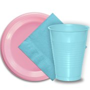 """50 Pink Plastic Plates (9""""), 50 Light Blue Plastic Cups (12 oz.), and 50 Light Blue Paper Napkins, Dazzelling Colored Disposable Party Supplies Tableware Set for Fifty Guests."""