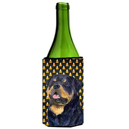 Rottweiler Halloween (Rottweiler Candy Corn Halloween Portrait Wine Bottle  )