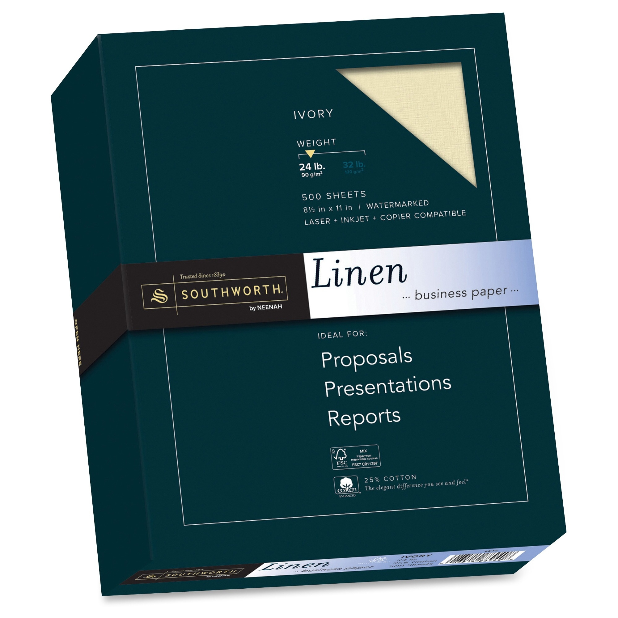 "Southworth Linen Business Paper - For Inkjet, Laser Print - Letter - 8.50"" X 11"" - 24 Lb - Recycled - Linen - 500 / Box - Ivory (564C)"
