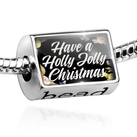 - Bead Floral Border Have a Holly Jolly Christmas Charm Fits All European Bracelets