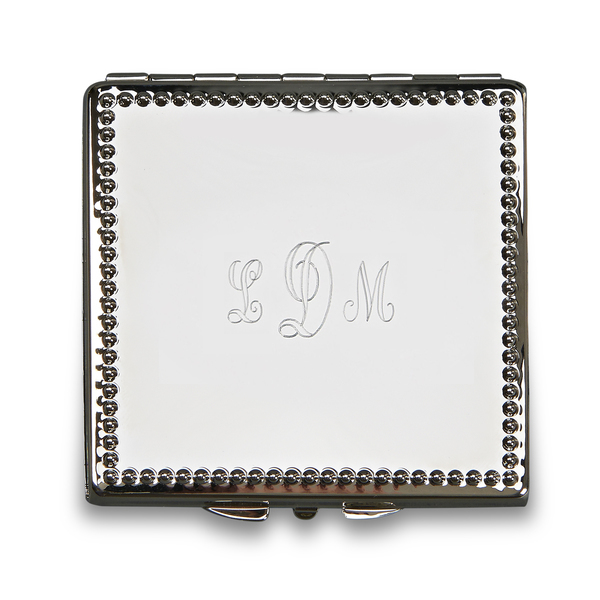 Personalized Monogrammed Beaded Square Compact, Nickel Plated