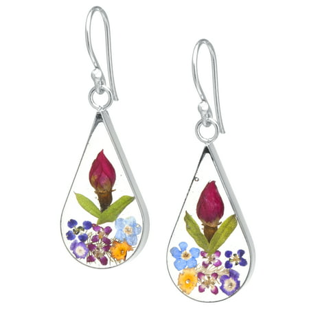 Sterling Silver Teardrop Everlasting Multi Color Flower Earrings
