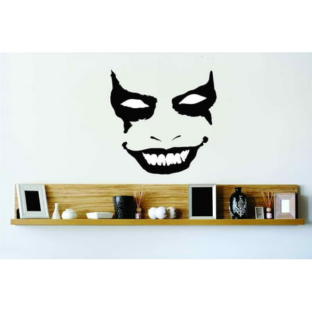 Evil Scary Smiling Joker Face Mask Vinyl Wall Decal Halloween Party Decoration Kids Boy Girl Dorm Room Children 20x20