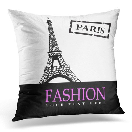 EREHome Pink Architecture with Paris in The Beautiful Pillow Case Pillow Cover 18x18 inch - image 1 de 1