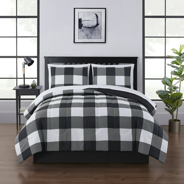 Mainstays Buffalo Check Plaid Bed In A, Black And White Check Queen Bedding