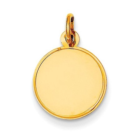 14k Yellow Gold Plain 0.013 Gauge Engravable Round Disc Charm (0.7in long x 0.5in wide)