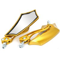 Unique Bargains 2 Pcs Motorcycle Universal Gold Tone Angle Adjustable Rearview Mirror
