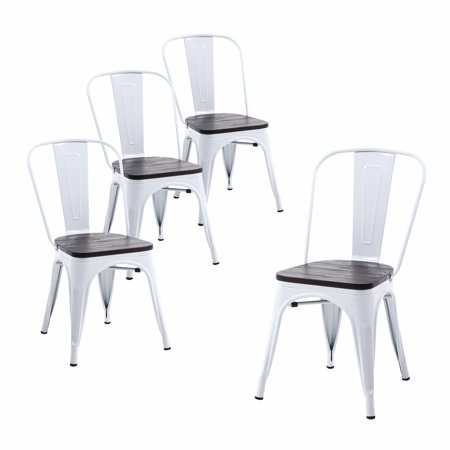 Surprising Buschman Set Of Four White Wooden Seat Tolix Style Metal Indoor Outdoor Stackable Chairs With Back Gmtry Best Dining Table And Chair Ideas Images Gmtryco