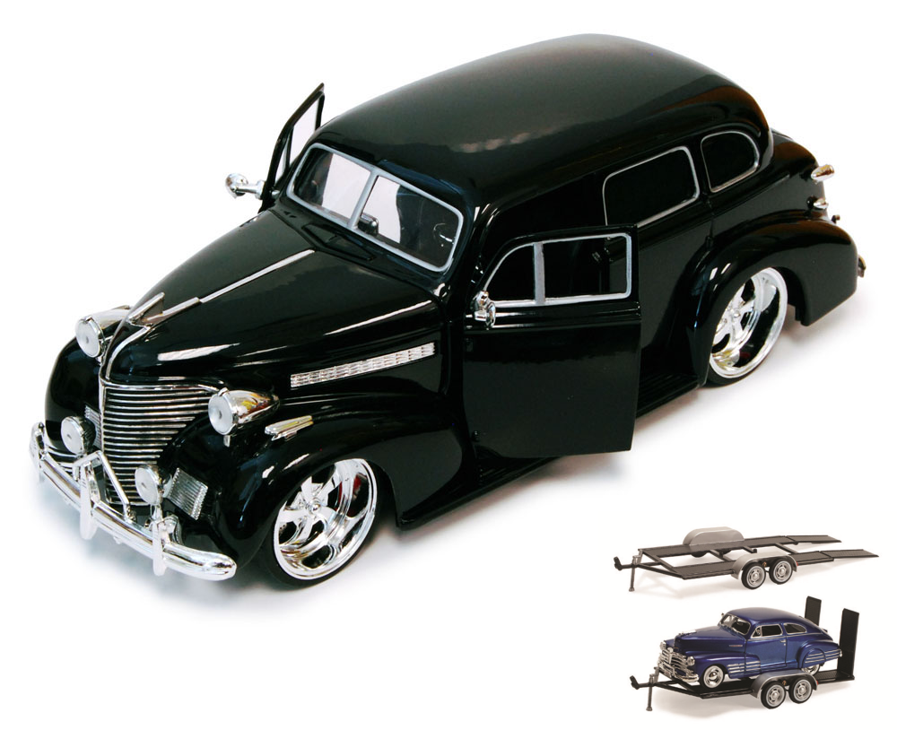 Diecast Car & Trailer Package 1939 Chevy Master Deluxe, Black Jada Toys Bigtime Kustoms... by ModelToyCars