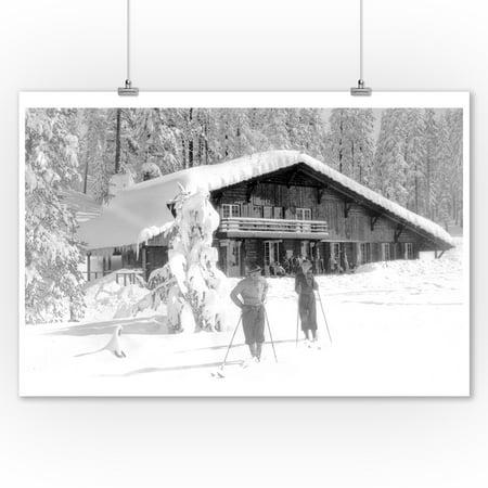 Yosemite Natl Park Map - Yosemite Nat'l Park, California - A Couple Cross-Country Skiing (9x12 Art Print, Wall Decor Travel Poster)