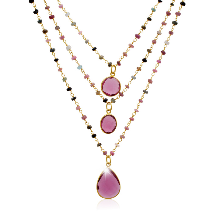 24 Carat Pink Tourmaline Triple Strand Beaded Necklace In 14K Yellow Gold, 26 Inches by SuperJeweler
