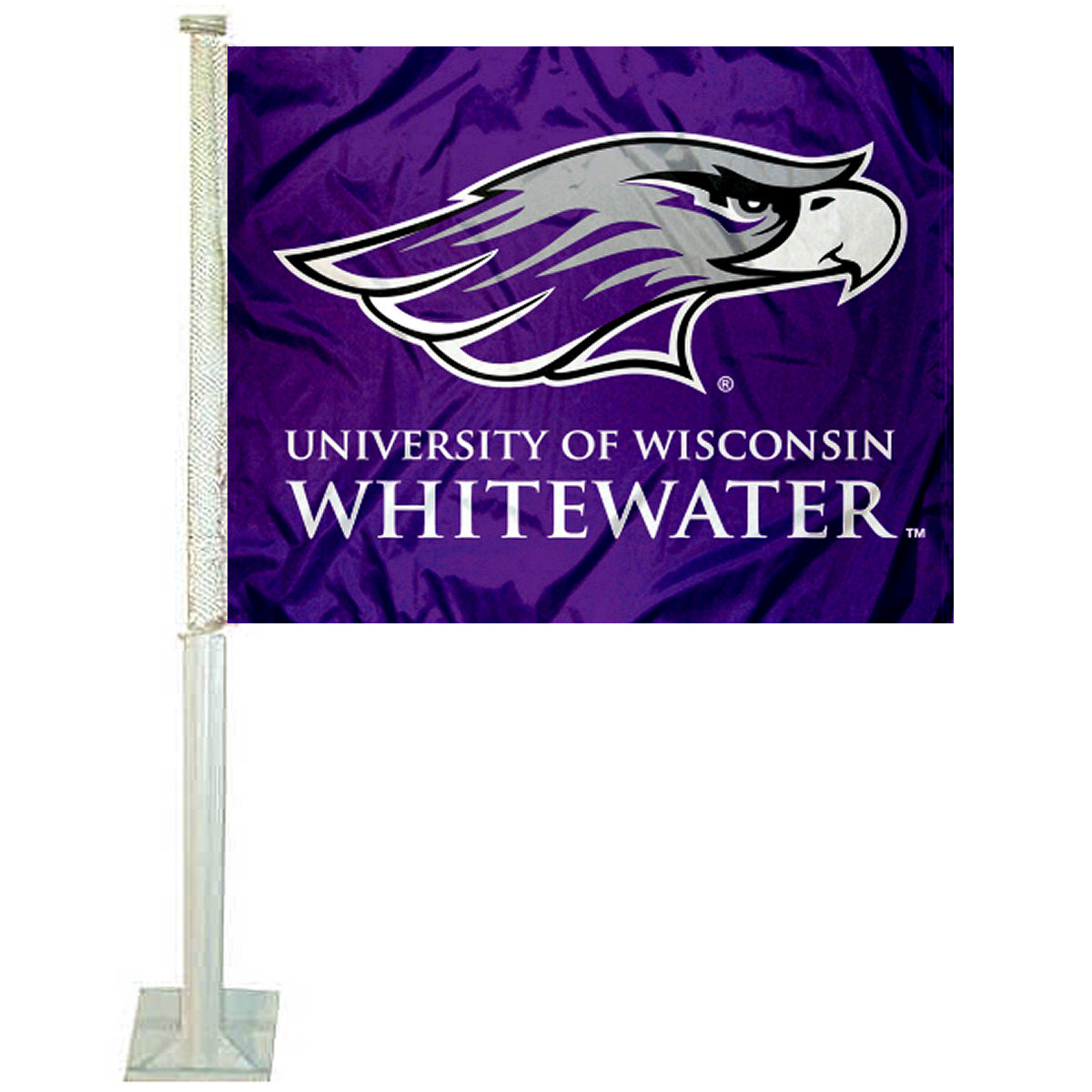"University of Wisconsin Whitewater 12"" x 15"" Car Flag"
