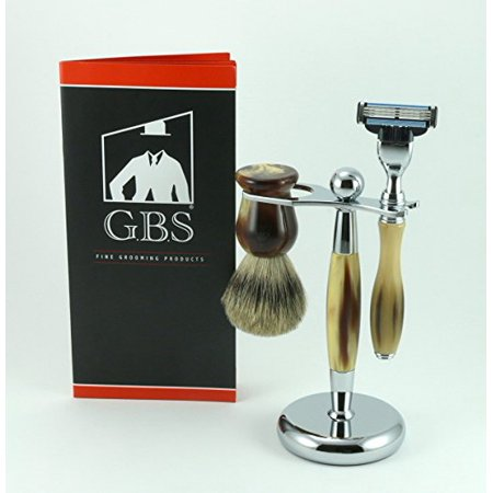 GBS 3 Piece Premium Shave Set --- Horn Chrome Stand + Pure Badger Brush + Mach 3 Horn Razor Chrome Accent