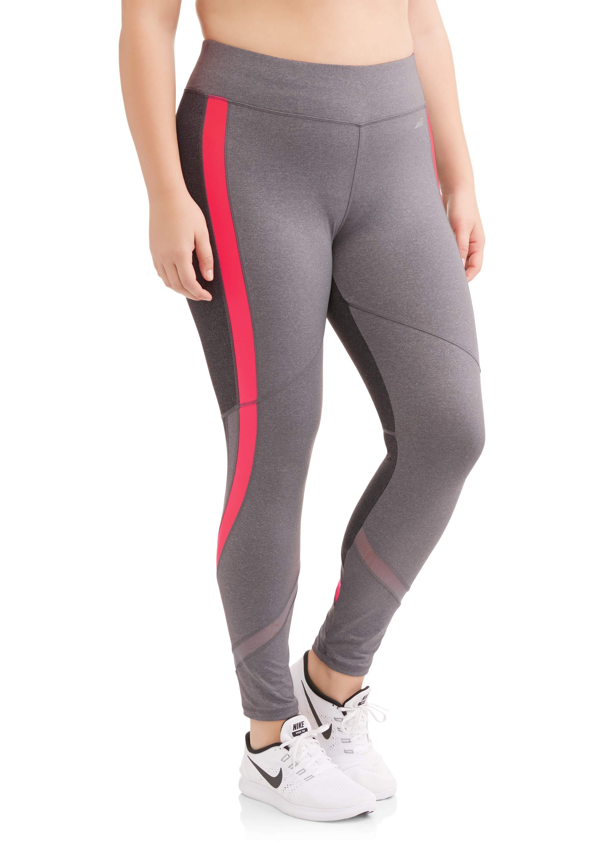 Women's Plus Size Active Full Length Racing Stripe Performance Legging