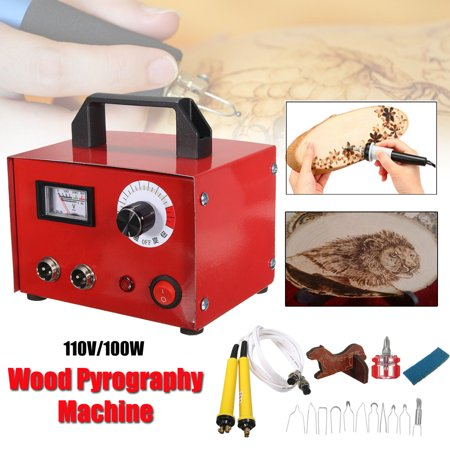 - Grtsunsea 110V 100W Multifunction Gourd Laser Pyrography Engraving Sculpture Carving Heating Wire Pen Kit Tool Woodburning