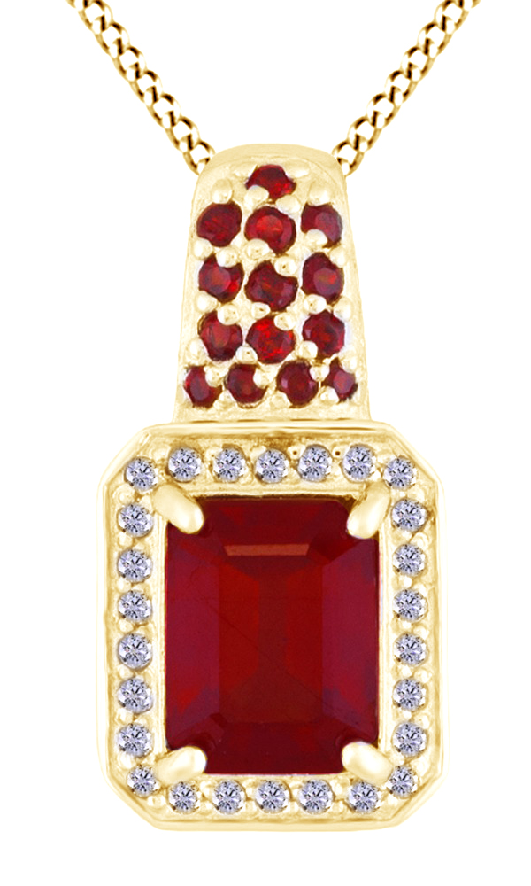 Simulated Ruby CZ, Garnet & White Topaz Pendant Necklace In 14k White Gold Over Sterling Silver (2.78 ct) by Jewel Zone US