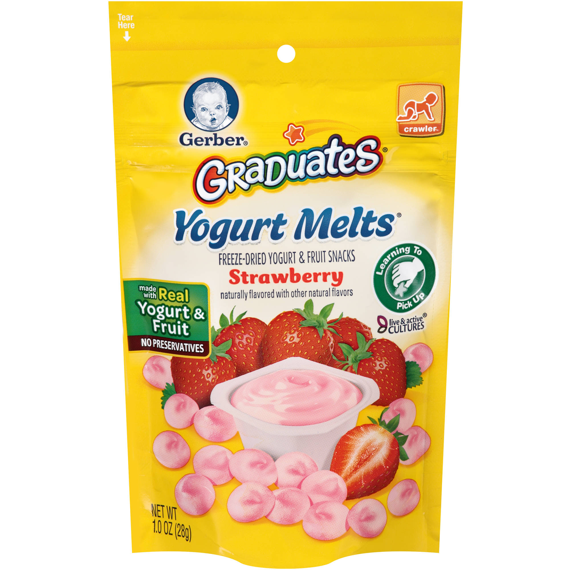 Gerber Graduates Yogurt Melts Freeze-Dried Yogurt and Fruit Snacks, Strawberry, Naturally Flavored with Other Natural Flavors, 1 ounce, 1 count