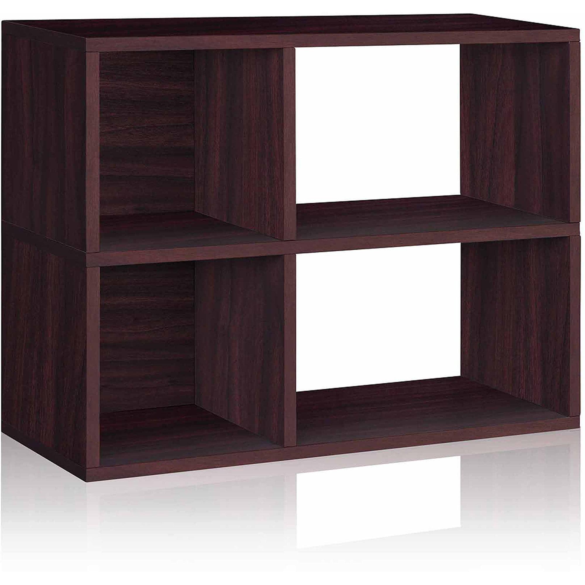 Way Basics Eco 2-Shelf Chelsea Bookcase and Cubby Storage, Espresso