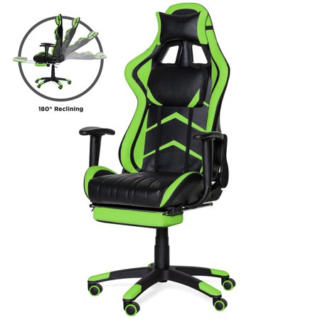 Best Choice Products Ergonomic High Back Executive Office Computer Racing Gaming Chair w/ 360-Degree Swivel, 180-Degree Reclining, Footrest, Adjustable Armrests, Headrest, Lumbar Support - Green