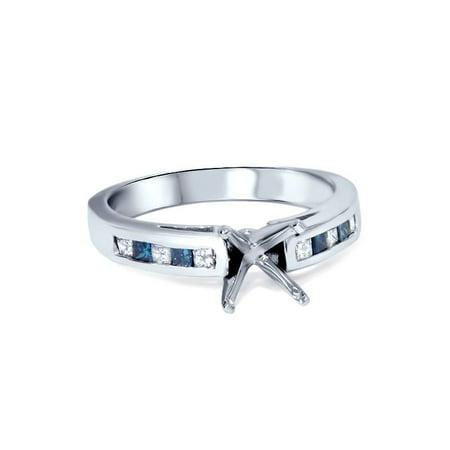 1/2ct Blue & White Diamond Princess Cut Cathedral Semi Mount Engagement