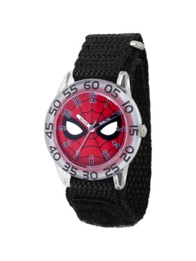 Spider-Man Boys' Clear Plastic Time Teacher Watch, Black Hook and Loop Nylon Strap